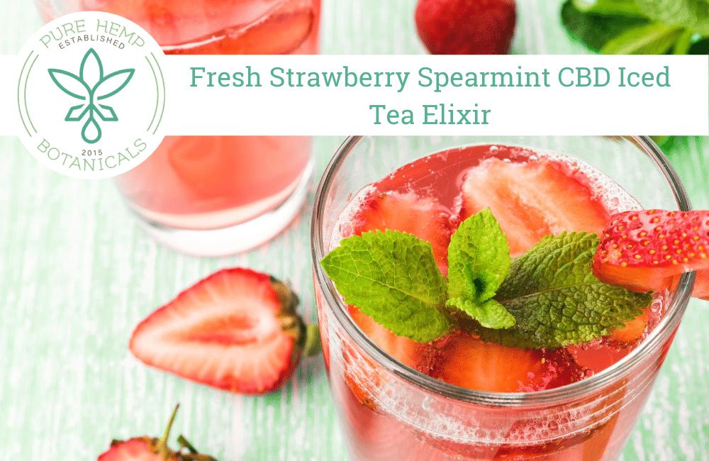 Fresh Strawberry Spearmint CBD Iced Tea Elixir