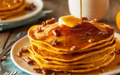 Pumpkin Pecan Pancakes with CBD Maple Butter